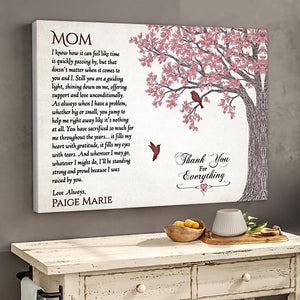 Personalized Gift For Mom Thank You For Everything Mom Horizontal Poster Canvas