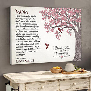 Personalized Gift For Mom Thank You For Everything Mom Horizontal Canvas Canvas - Family Presents - Great Blanket, Canvas, Clothe, Gifts For Family