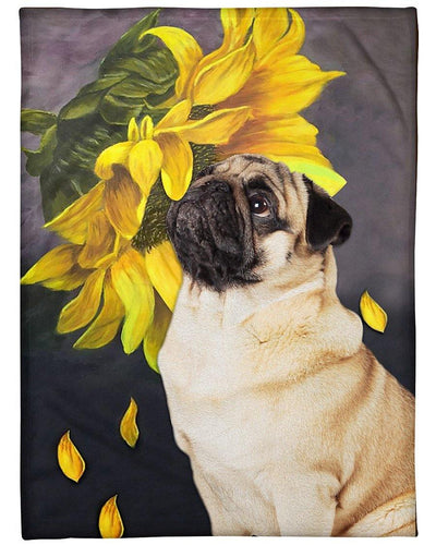 Pug Blanket, Pug Sunflower Fleece Blanket