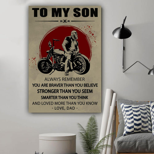 (L188) LVL Biker Canvas - Dad to son - You are braver - Family Presents - Great Blanket, Canvas, Clothe, Gifts For Family