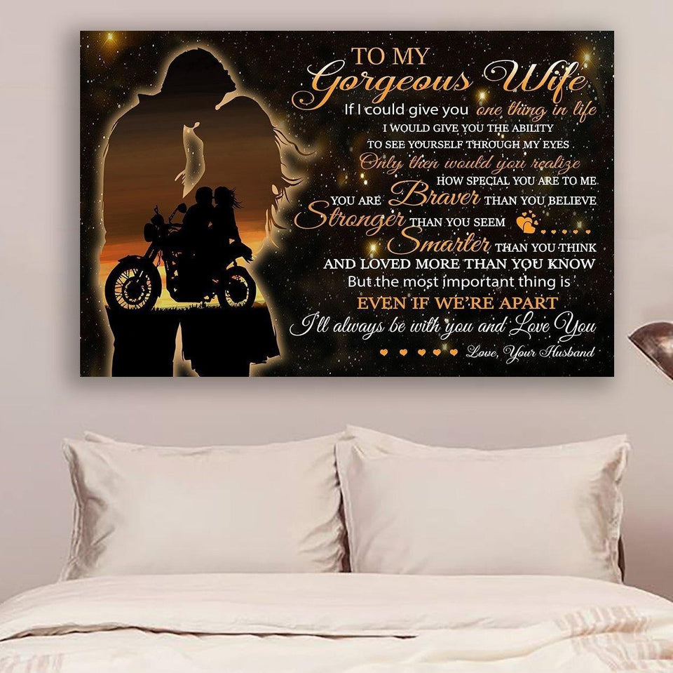 (LL33) BIKER Canvas - HUSBAND to wife - you are BRAVER THAN YOU BELIEVE