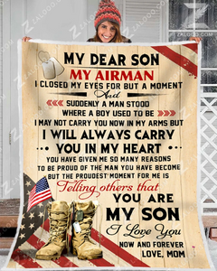 Air force blanket - My Dear Son - Gift for Son/ Grandson - Birthday, Christmas gift - I closed my eyes for but a moment - Family Presents - Great Blanket, Canvas, Clothe, Gifts For Family