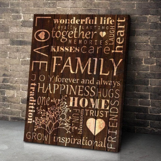 FAMILY WOOD COLLAGE CANVAS WALL ART
