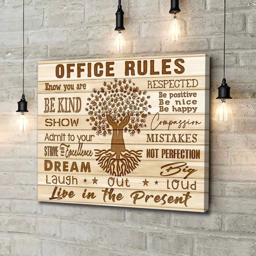Canvas - Office - Office rules Wall Art Canvas- Laugh out loud