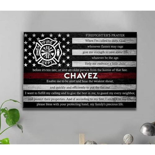 Personalized Canvas - Thin Red Line Flag - Firefighter Prayer - CTM - Family Presents - Great Blanket, Canvas, Clothe, Gifts For Family