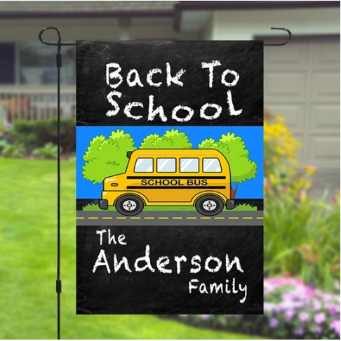 Back To School Personalized Custom Family Name Garden Banner Flag