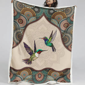 HUMMINGBIRD - MANDALA - Fleece Blanket