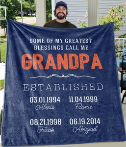 Personalized Blanket - MY GREATEST BLESSINGS CALL ME Custom Title Children Names Birth Date Fleece Blankets - Perfect Birthday Holiday Gifts for Dad Uncle & Grandpa - Family Presents - Great Blanket, Canvas, Clothe, Gifts For Family