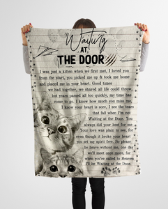 Cat Blanket  - Waiting At The Door - Fleece Blanket