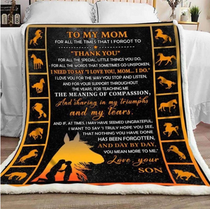 Mom Horse Blanket - To my mom for all the times that I forgot to thank you - Fleece Blanket - Family Presents