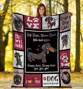 Dog Blanket Soft Doxie Warm Doxie Little Ball Of Fur Dachshund Doxie Weiner Dog Fleece Blanket