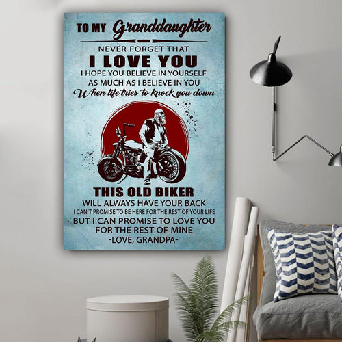 (L199) Biker Canvas - Grandpa to granddaughter - This old biker - Family Presents - Great Blanket, Canvas, Clothe, Gifts For Family