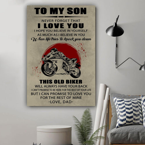 (L198) Biker Canvas - Dad to son - This old biker - Family Presents - Great Blanket, Canvas, Clothe, Gifts For Family