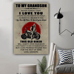 (L194) Biker Canvas - Grandpa to grandson - This old biker - Family Presents - Great Blanket, Canvas, Clothe, Gifts For Family