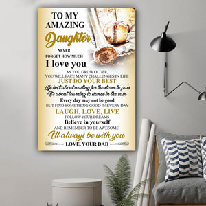 (L196) Baseball Canvas - Dad to daughter - I love you - Family Presents - Great Blanket, Canvas, Clothe, Gifts For Family