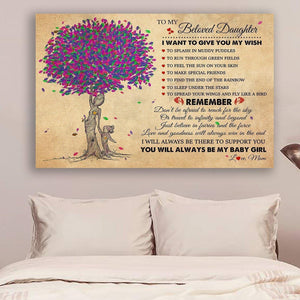 (LL32) Family Canvas - mom to daughter - You will always be my baby girl - Family Presents - Great Blanket, Canvas, Clothe, Gifts For Family