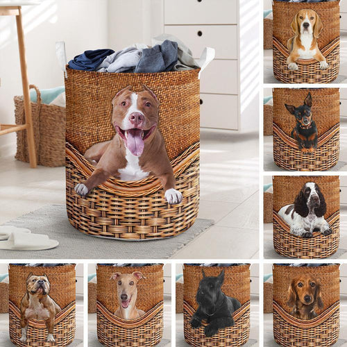 Personalized Basket - Dog rattan teaxture Laundry Basket