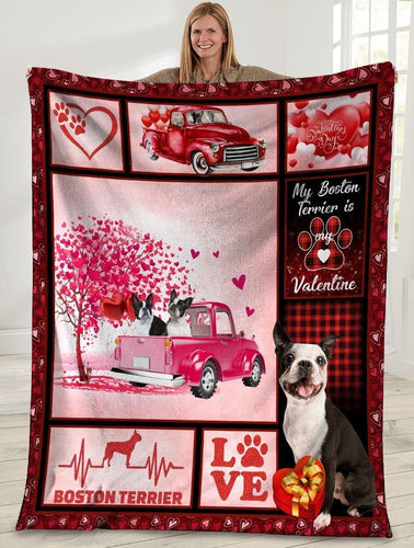 Dog Blanket Valentine's Day Gifts My Boston Terrirer Is My Valentine Boston Terrier Dog Pink Truck Fleece Blanket - Family Presents - Great Blanket, Canvas, Clothe, Gifts For Family