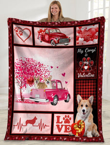 Dog Blanket Valentine's Day Gifts My Corgi Is My Valentine Corgi Dog Pink Truck Fleece Blanket - Family Presents - Great Blanket, Canvas, Clothe, Gifts For Family