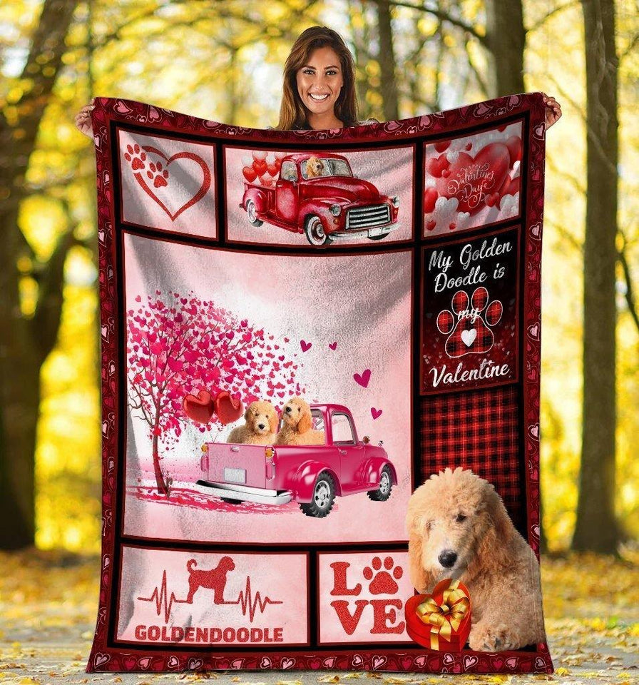 Dog Blanket Valentine's Day Gifts My Goldendoodle Is My Valentine Goldendoodle Dog Pink Truck Fleece Blanket