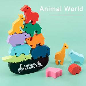 Wooden Puzzle Toy Animals Balance Training Game Kit Educational Preschool Toy Building Blocks Baby Learning Toys For Kids Gift