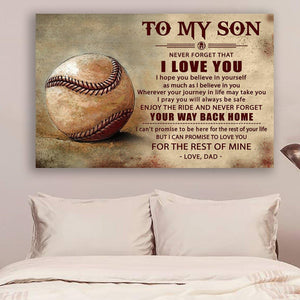 (LL40) Baseball Canvas - Dad to son - Your way back home - Family Presents - Great Blanket, Canvas, Clothe, Gifts For Family