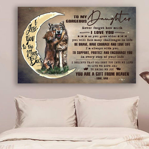 (LL54) Wolf Canvas - Dad to daughter- I love you
