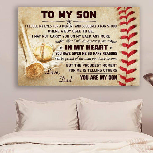 (L197) Baseball Canvas - Dad to son - You are my son - Family Presents - Great Blanket, Canvas, Clothe, Gifts For Family