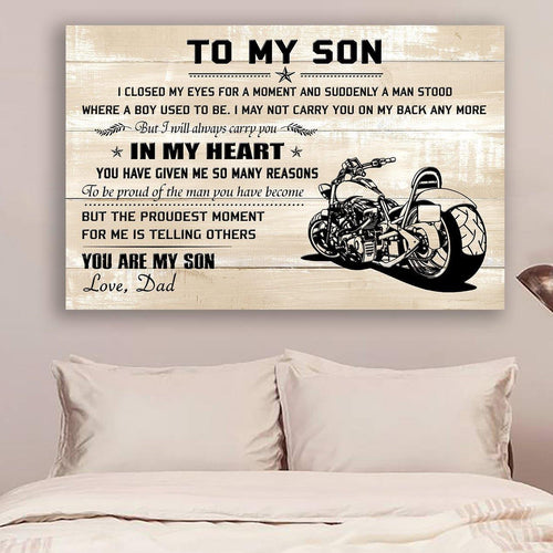(L193) Biker Canvas - To my son - You are my son - Family Presents - Great Blanket, Canvas, Clothe, Gifts For Family