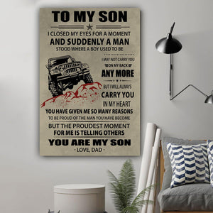 (L184) Jeep Canvas - Dad to Son - You are my son - Family Presents - Great Blanket, Canvas, Clothe, Gifts For Family