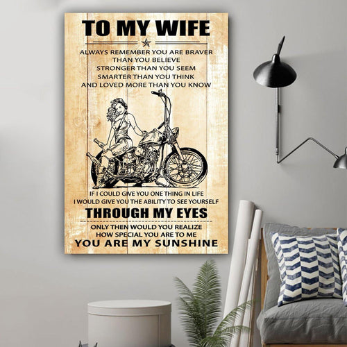 (L192) Biker Canvas - To my wife - You are braver - Family Presents - Great Blanket, Canvas, Clothe, Gifts For Family