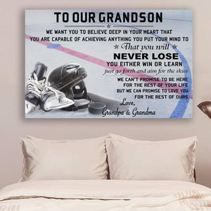 (cv916) Hockey canvas - to our grandson - never lose QH