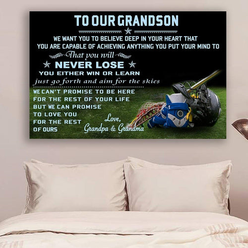 (cv914) Lacrosse canvas - to our grandson - never lose QH