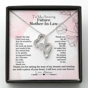 Mother's Day Necklace, Gift For Mother In Law From Daughter In Law, 14k White Gold Necklace, Thank You For Raising The Man Of My Dreams