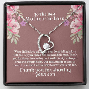 To The Best Mother In Law- Thank you for sharing your son - Forever Love Necklace, Mother's Day Gift, Gifts For Mom, Mom Necklace - Family Presents - Great Blanket, Canvas, Clothe, Gifts For Family