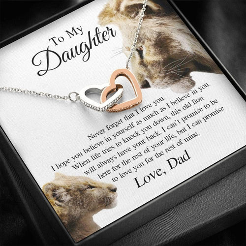 to My Daughter This Old Lion Will Always Have Your Back Interlocking Heart Necklace Daughter Necklace from Dad - Daughter Gifts Jewelry Includes Gift Box - Family Presents - Great Blanket, Canvas, Clothe, Gifts For Family