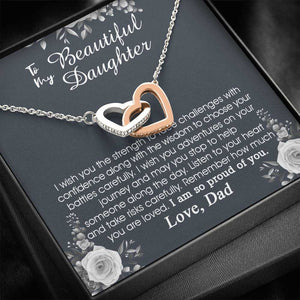 To My Daughter From Dad, Father To Daughter Gift, I Am So Proud Of You, Birthday Gift To Daughter, Daughter Necklace, Hearts Necklace