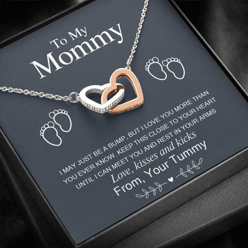 Mother's Day Gifts,   To My Mommy - Close To Your Heart - Interlocking Hearts Necklace - Family Presents - Great Blanket, Canvas, Clothe, Gifts For Family