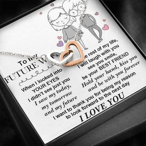 Interlocked Heart Necklace - To My Future Wife - Be With You Forever - Valentine Gift For Wife, Girlfriend, Future Wife, Valentine For Couple