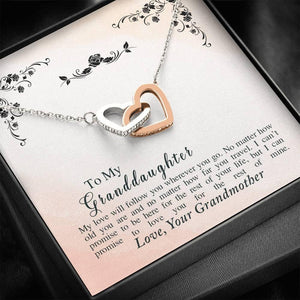 To My Granddaughter - Rest Of My Life - Interlocking Hearts Necklace