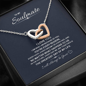 "Gifts To My Soulmate ""Greatest Day"" Alluring Beauty Necklace with Message Card and Gift Box. Valentine Gift for Fiance, Girlfriend, Future Wife, Wife - Family Presents - Great Blanket, Canvas, Clothe, Gifts For Family"