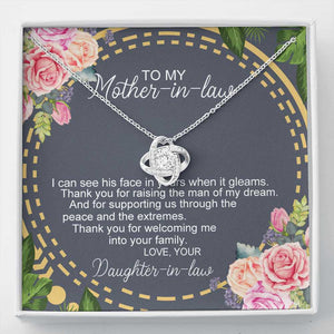 Mother's Day Necklace - Gift For Future Mother In Law From Daughter In Law - 14k White Gold Necklace, Thank You For Rasing The Man Of My Dream
