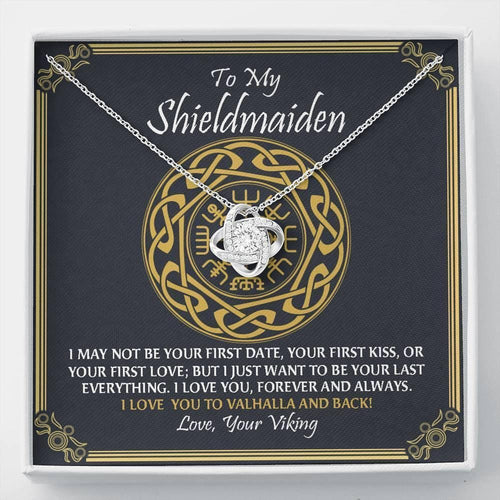 To My Shieldmaiden Love You to Valhalla And Back Love Knot Necklace, Valentine Gift For Wife, Girlfriend, Future Wife Viking Gift - Family Presents - Great Blanket, Canvas, Clothe, Gifts For Family
