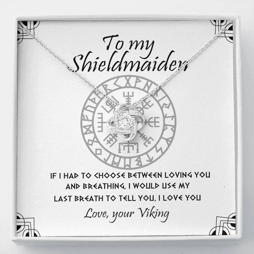 To My Shieldmaiden - Love Knot Necklace Gift - Love, Your Viking - Gift for wife/girlfriend on Valetine - - Family Presents - Great Blanket, Canvas, Clothe, Gifts For Family