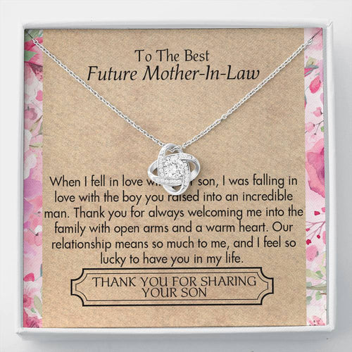 Mother'S Day Necklace, Gift For Mother In Law From Daughter In Law - 14K White Gold Necklace, Thank You For Sharing Your Son