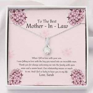 Personalized Mother's Day Necklace, Gift For Mother-in-law From Daughter In Law - 14k White Gold Necklace, I Feel So Lucky To Have You In My Life
