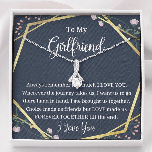 Petit Ribbon Pendant Necklace, To My Girlfriend, Forever Together, Valentine gift for her
