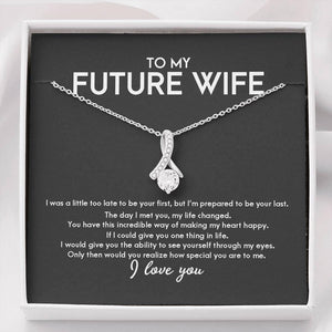 to My Future Wife Necklace Future Wife Gifts Alluring Beauty Necklace with Message Card and Gift Box Future Wife Gifts valentine Fiancee Gifts - Family Presents - Great Blanket, Canvas, Clothe, Gifts For Family