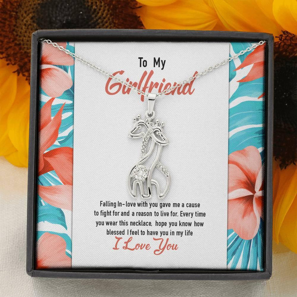 Girlfriend Necklace - Graceful Love Giraffe Pendant Necklace & Message Card - Valentine Gift for Girlfriend
