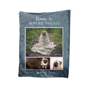 Custom Pet Blanket Home- Fleece Blanket - Family Presents - Great Blanket, Canvas, Clothe, Gifts For Family